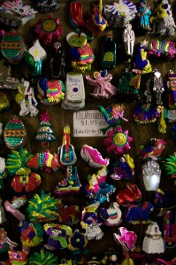 Photo of tin ornaments for sale at Fiesta on Main, $1.95 each or $1 each when you buy 12 or more.