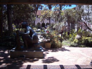Photo of McNay Art Museum Courtyard taken from inside the museum.