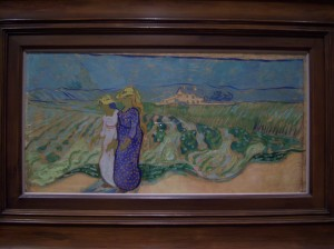 "Photo of Van Gogh's ""Women Crossing the Fields"" painting."