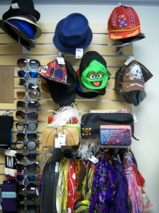 Photo of sunglasses, hats, scarves and purses at Buffalo Exchange.