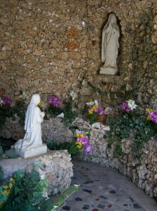 Photo of Our Lady of Lourdes grotto at St. Anthony de Padua in San Antonio, Texas.