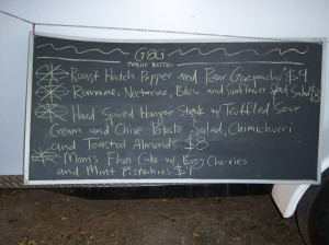 Photo of G&G Mobile Bistro Menu of Aug. 27, 2010.