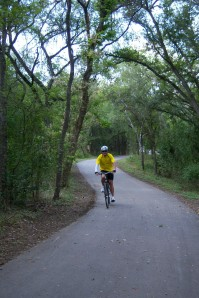 Photo of a cyclist along the Salado Creek Greenway.