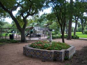 Photo of the grounds and playground at Landa Library.