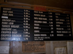 Photo of the menu board at Barbecue Station.