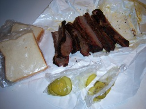 Photo of sliced, smoked brisket
