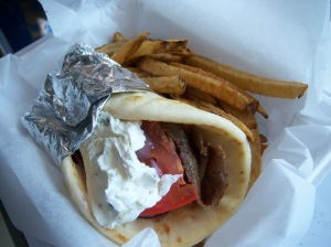 Photo of Demo's micro gyro with fries.