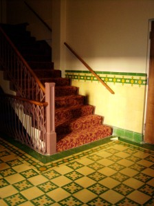 Photo of stairs to the Carver Community Cultural Center's balcony.