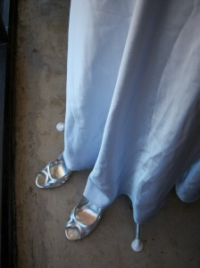 Photo of silver sandals for sale at Goodwill on Austin Highway.