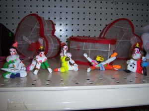 Photo of a set of five miniature clowns for 29 cents each.