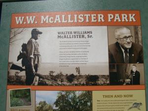 Photo of McAllister Park signage.