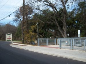Photo of Salado Creek Greenway entrance on Loop 410.